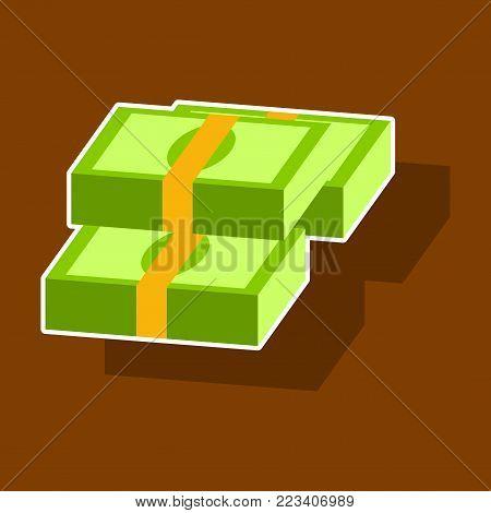 paper sticker on theme Arabic business bundles of money