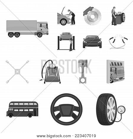 Car, lift, pump and other equipment monochrome icons in set collection for design. Car maintenance station vector symbol stock illustration .