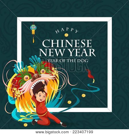 Chinese Lunar New Year Lion Dance Fight isolated on dark background, happy dancer in china traditional costume holding colorful dragon mask on parade or carnival, cartoon style vector illustration.
