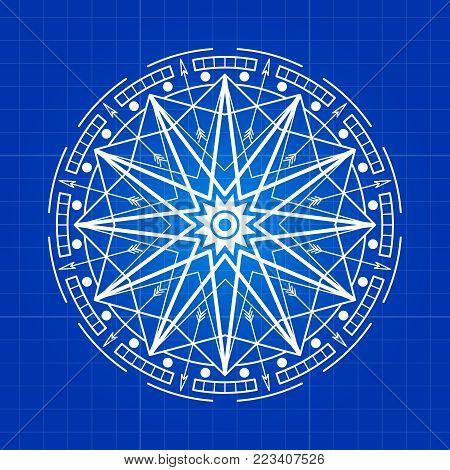 Esoteric mystery round sign line on blue backdrop. Vector illustration