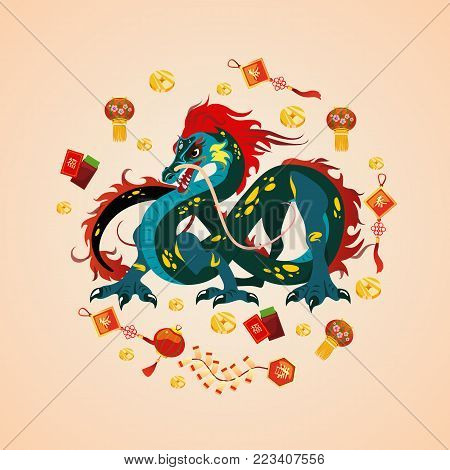 Traditional chinese Dragon, ancient symbol of asian or china culture, decoration for new year celebration, mythology animal vector illustration, idea for tattoo design.