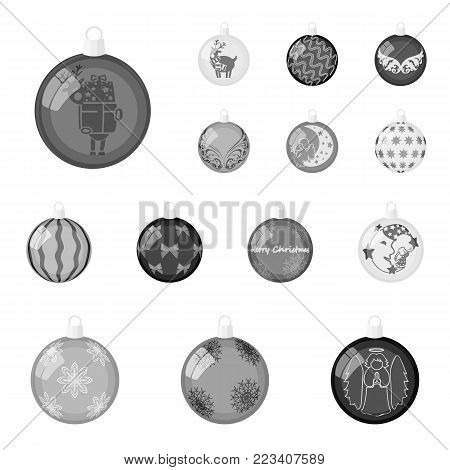 Christmas toys monochrome icons in set collection for design.New Year balls vector symbol stock illustration.