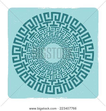 Grunge ancient Greek round meander key emblem in square frame. Vector illustration