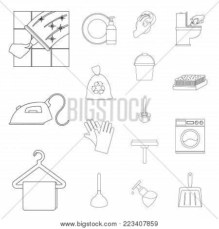 Cleaning and maid outline icons in set collection for design. Equipment for cleaning vector symbol stock  illustration.