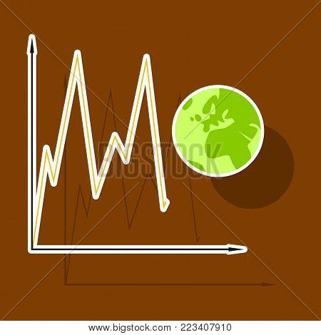 paper sticker on theme Arabic business world economy chart