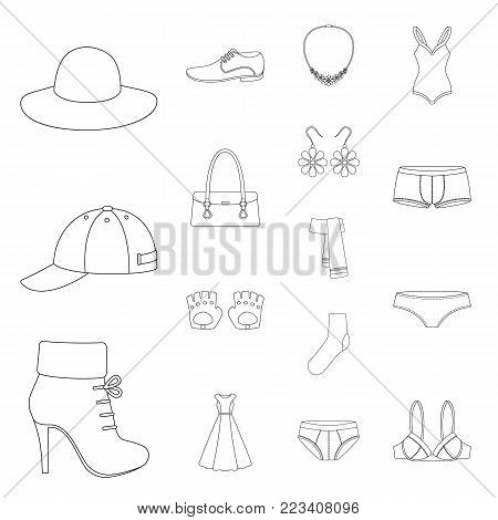 Clothes and accessories outline icons in set collection for design. Shoes and decoration vector symbol stock web illustration.