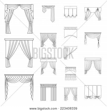 Different kinds of curtains outline icons in set collection for design. Curtains and lambrequins vector symbol stock  illustration.
