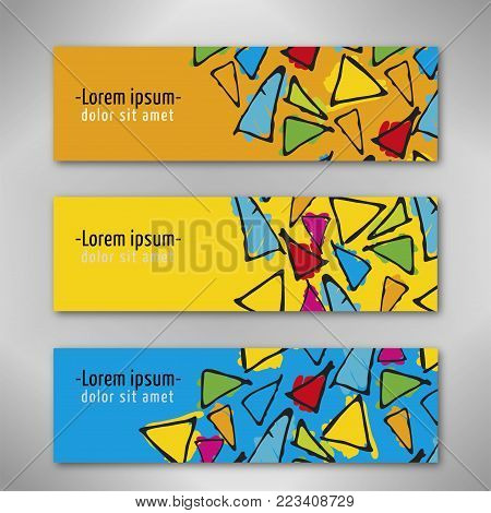 Minimal covers design. Concept with triangle hand drawn pattern. Eps10 vector. Barcelona, gaudi style pattern.