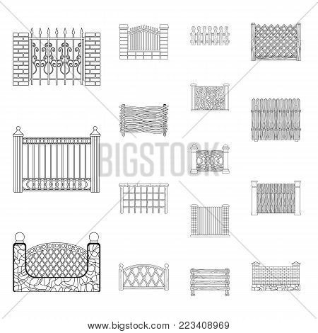 Different fence outline icons in set collection for design.Decorative fencing vector symbol stock  illustration.