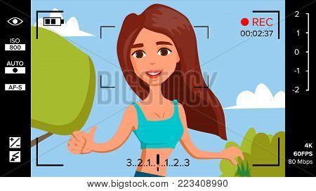 Blogger Girl Records Video Blog Vector. Vlog Concept. Woman Online Internet Streaming Video. Handsome Female Leading Online Stream Channel. Illustration