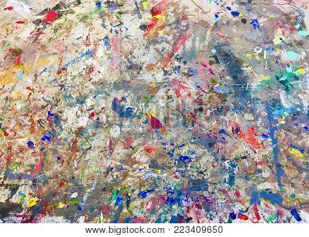 Artist various meduim painting multicoloured painted artwork