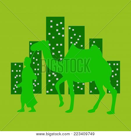 flat icon on theme Arabic business Arab with a camel