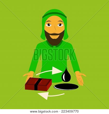 flat icon on theme Arabic business Arab businessman with oil