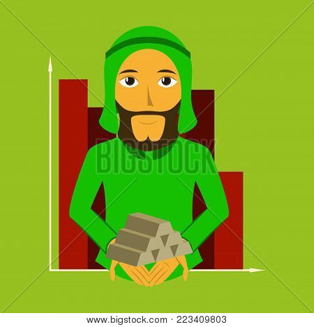 flat icon on theme Arabic business arabic businessman with gold