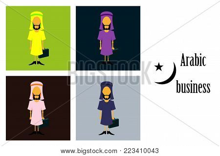assembly of flat icons on theme Arabic business arabic businessman