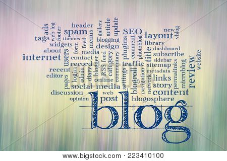 blogging and blog design word cloud - - text against motion blurred landscape abstract