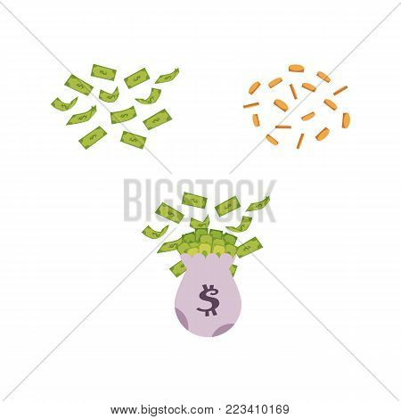 vector flat big bag with dollar cash, flying money, golden coins rain. Plenty of money in sack. Isolated illustration, white background. Sign of profit, easy money. Jackpot, bingo casino design poster