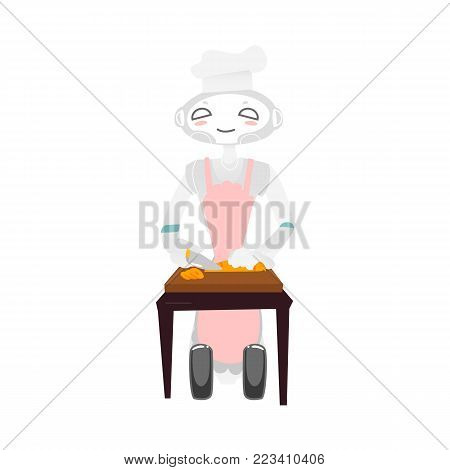 Wheeled robot assistant in chef hat and apron cooking, chopping vegetables, artificial intelligence concept, flat cartoon vector illustration isolated on white background. Funny robot chef cooking