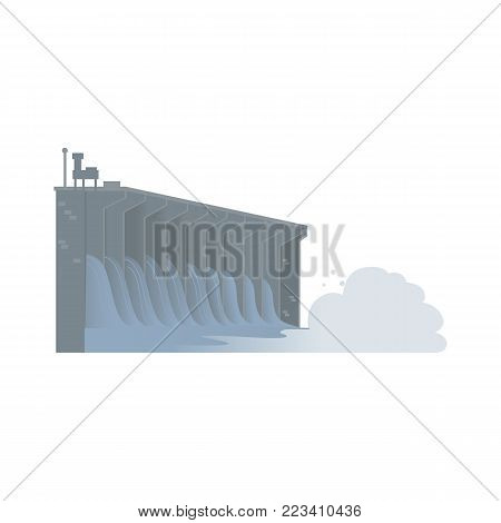Water dam, hydroelectric power generator, flat vector illustration isolated on white background. Flat style image of hydroelectric dam, part of sustainable energy production plant