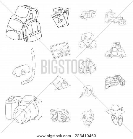 Family holiday outline icons in set collection for design. Recreation and equipment. vector symbol stock  illustration.