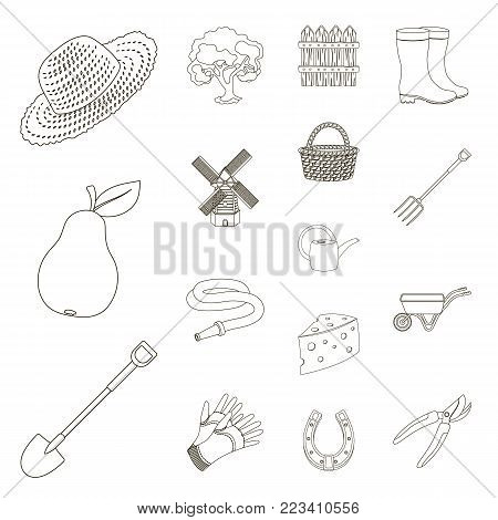 Farm and gardening outline icons in set collection for design. Farm and equipment vector symbol stock  illustration.