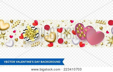 Valentine Day Party Invitation Design Template Of Gold Calligraphy Text. Vector Happy Valentines Day
