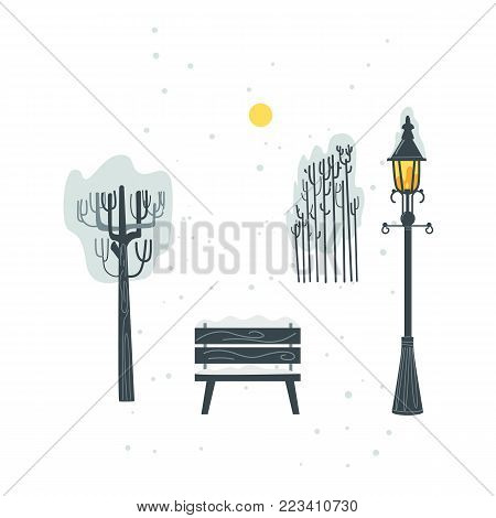 Vector flat urban landscape background design elements icon set. Streetlight, lamppost or lantern, street bench, stylized tree, bush and sun. Isolated illustration on a white background.
