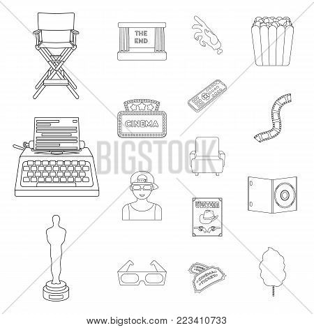 Films and cinema outline icons in set collection for design.Movies and Attributes vector symbol stock  illustration.