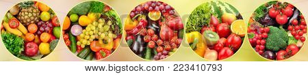 Panoramic photo fresh fruits and vegetables in round frame on light blurred background.
