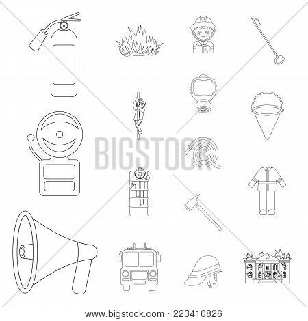 Fire Department outline icons in set collection for design. Firefighters and equipment vector symbol stock  illustration.