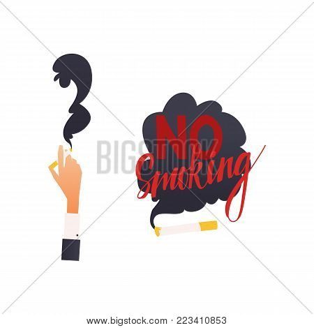 Vector flat danger, harm risk of smoking concept icon. Hand holding burning cigarette, no smoking sign . Nicotine addiction, cancer disease, social advertisement design illustration poster