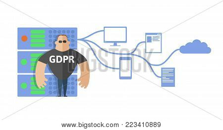 GDPR concept illustration. General Data Protection Regulation. The protection of personal data. Server and security guard. Vector, isolated on white background.