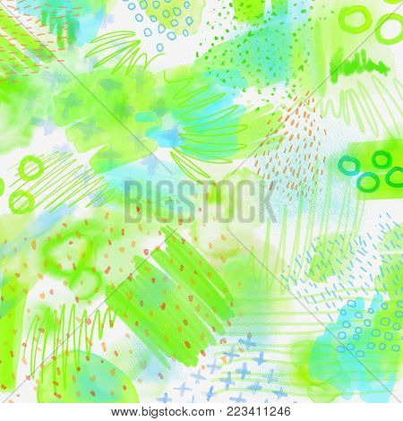 Watercolor splashed abstract spring background. Spring background in light green and blue colors with hand draw splashes, lines and textures. Bright spring pattern on watercolor paper texture