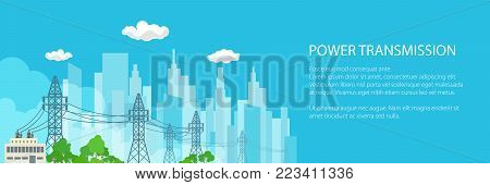 Banner of Electric Power Transmission, High Voltage Power Lines Supplies Electricity to the City and Text, Vector Illustration