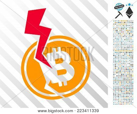 Bitcoin Crash Lightning icon with 700 bonus bitcoin mining and blockchain icons. Vector illustration style is flat iconic symbols designed for crypto currency apps.