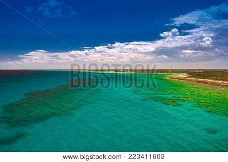 Exotic caribbean beaches green water and coastline