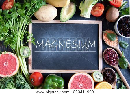 Fresh fruits vegetables and pulses with magnesium nutrition