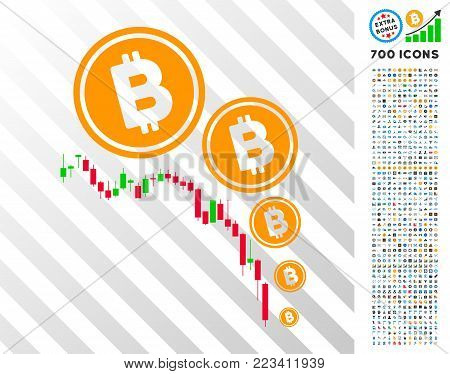 Bitcoin Deflation Chart icon with 700 bonus bitcoin mining and blockchain pictograms. Vector illustration style is flat iconic symbols designed for bitcoin apps.