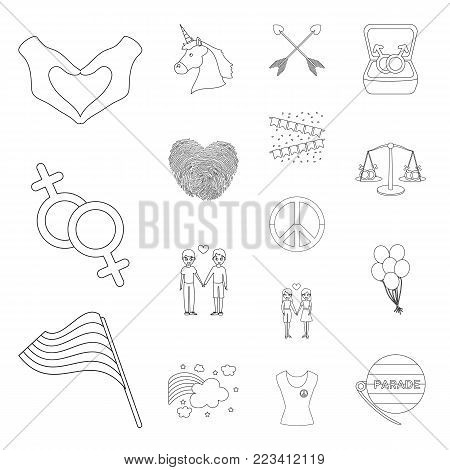 Gay and lesbian outline icons in set collection for design.Sexual minority and attributes vector symbol stock  illustration.