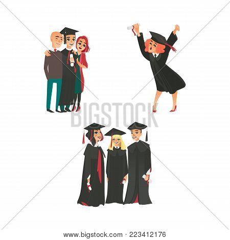 Happy college graduates in graduation cap and gown with diplomas, parents, flat vector illustration isolated on white background. College graduates - happy girl, boy with parents, group of classmates