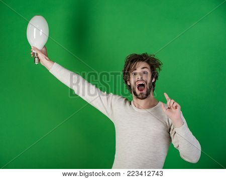 Shouting Guy Has An Idea On Grey Background, Morning.