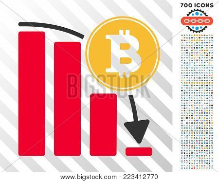 Bitcoin Falling Chart pictograph with 7 hundred bonus bitcoin mining and blockchain pictograms. Vector illustration style is flat iconic symbols designed for bitcoin software.