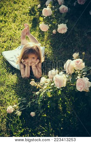 Child Smiling At Blossoming Rose Flowers On Green Grass
