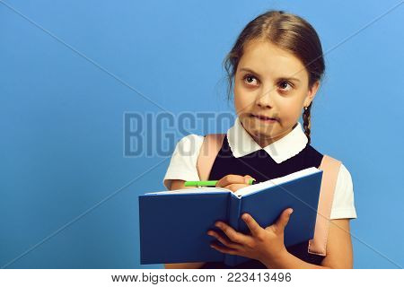 Pupil In School Uniform With Braid. Girl Writes In Notebook