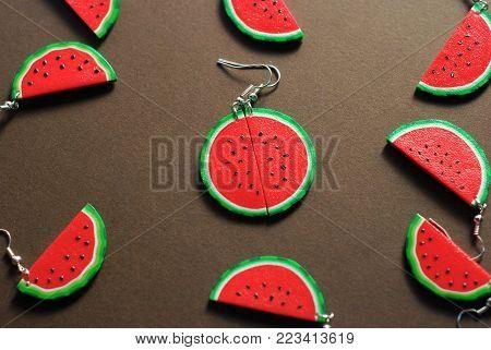 Fake Plastic Fruit Model. Fake Sliced Watermelon Model
