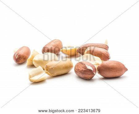 Peanuts stack isolated on white background (shelled in husk, unshelled, halves without husk)