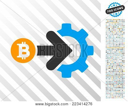 Bitcoin Integration Gear icon with 7 hundred bonus bitcoin mining and blockchain clip art. Vector illustration style is flat iconic symbols designed for bitcoin apps.