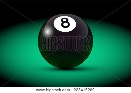 Black realistic billiard eight ball on green table. Vector billiard illustration