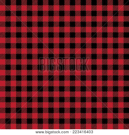 Scottish seamless background. Vector red and black scottish fabric
