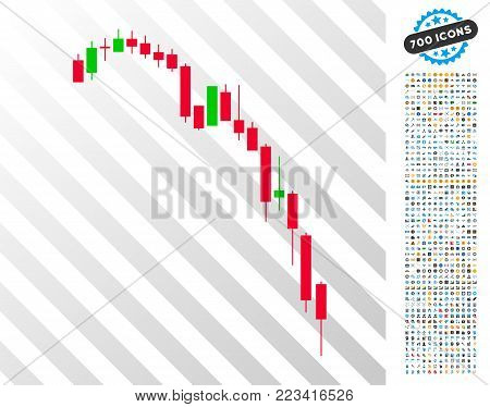Candlestick Falling Acceleration Chart icon with 700 bonus bitcoin mining and blockchain design elements. Vector illustration style is flat iconic symbols designed for crypto currency software.